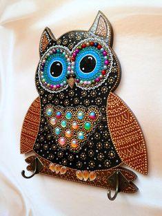 Owl Art Home Decor Wall Hanging mandala owl meditation wall owls gift owl eyed owl decoration christ Dot Art Painting, Mandala Painting, Art Art, Mural Art, Owl Quilts, Owl Bags, Owl Tattoo Design, Felt Owls, Owl Ornament