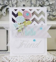 Hello Friend Card by Melissa Phillips for Papertrey Ink (February 2015)