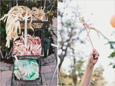 Love this ribbon wand exit. You must see more of this outdoor wedding reception http://www.weddingchicks.com/2013/08/16/rustic-chic-wedding-2/