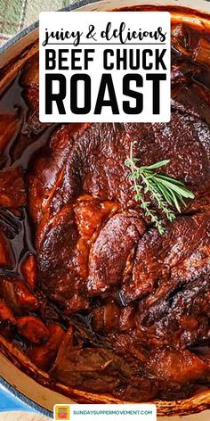This Beef Chuck Roast Recipe is the easiest and most deliciously moist pot roast you will ever eat! Deeply flavorful and fork-tender, this is our best chuck roast recipe with so much to offer. Beef Chuck Tender Roast Recipe, Boneless Chuck Roast Recipes, Beef Chuck Recipes, Best Roast Beef Recipe, Beef Chuck Roast, Roast Beef Recipes, Beef Chuck Steaks, Roast Beef Dinner, Good Roasts
