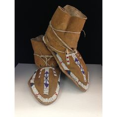 Northern Plains Beaded Hide Boot Moccasins
