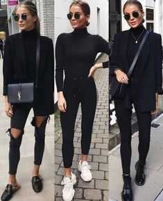 Timeless Black and White Outfits Woman All Black Outfits . Read more The post Timeless Black and White Outfits appeared first on How To Be Trendy. Winter Fashion Outfits, Spring Outfits, Autumn Fashion, Winter Outfits 2019, Outfit Winter, Fashion Boots, All Black Outfits For Women, Clothes For Women, All Black Outfit For Work