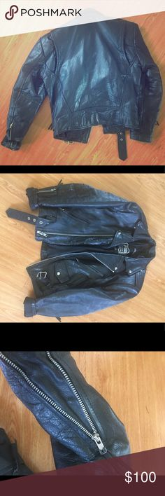 "Xs Men's leather jacket Thinsulate lined, polyester padded, 100% leather outside. XS Men's leather motorcycle jacket. Excellent condition. Shoulder to shoulder seam: 19"", across chest armpit to armpit: 17"", sleeves: 2', shoulder armhole circumference: 9.5"", waist: 17"" Jackets & Coats"