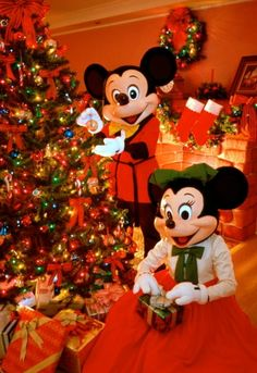 Mickey & Minnie at a cozy little tree decorated for Christmas that has nothing to do with CHRIST.no nativity scene. Disney, rejects an e-mail with the word GOD in it written by a little girl and also her family. Very Merry Christmas, Disney Christmas, Christmas Love, Christmas Pictures, Disney Holidays, Celebrating Christmas, Christmas Morning, Happy Holidays, Disney Dream