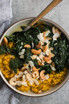 Coconut Kale with Turmeric Rice | @naturallyella