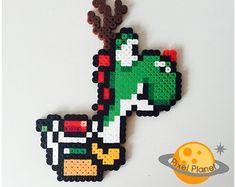 Yoshi Reindeer Ornament - Perler Beads Sprite