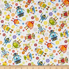 Paintbrush Studios Launch Party Robots White from @fabricdotcom  Designed by Paintbrush Studio Fabrics for Fabri-Quilt, this cotton print collection features juvenile space and science themed prints. Perfect for quilting, apparel, and home decor accents. Colors include white, red, orange, yellow, blue, green, and grey.