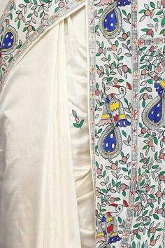 Saree Painting, Kerala Mural Painting, Hand Painting Art, Fabric Painting, Fabric Art, Madhubani Art, Madhubani Painting, Nefertiti Tattoo, Pichwai Paintings