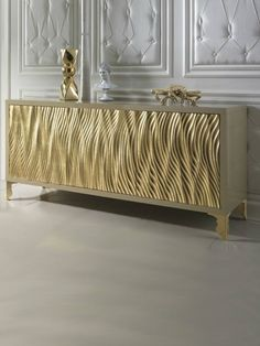 Luxurious Sideboards. Sideboard with Golden Leaf. Golden details. Luxury furniture. Interior design, interiors, decor, contemporary furniture. Take a look at: www.bocadolobo.com