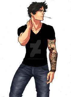 Nico di Angelo tattoo by WestLandInc on DeviantArt Percy Jackson Tattoo, Percy Jackson Fan Art, Son Of Hades, Daughter Of Poseidon, Solangelo, Percabeth, Angelo Tattoo, Percy Jackson Wallpaper, Tattoo Character
