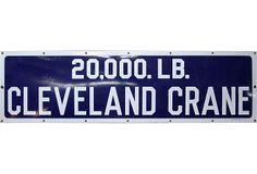 Cleveland Crane Enamel Sign on OneKingsLane.com