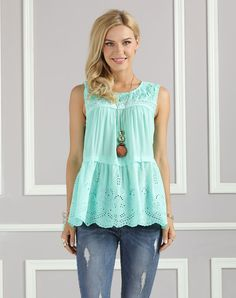 #AdoreWe #VIPme Tanks & Camis❤️Designer Suzanne Betro Mint Eyelet Lace-Accent Tiered Tank - Plus Too - AdoreWe.com