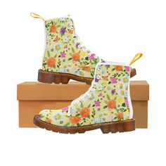 Daisy and Flowers Martin Boots For Women Model 1203H