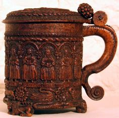 The Glastonbury Grace Cup, a 16th century oak tankard intricately carved with images of the 12 Apostles, the crucifixion of Christ, birds, beasts and flowers. Beautiful. Tudor History, British History, Church History, Henry Viii, King Henry, Renaissance, Glastonbury Abbey, Collections D'objets, Tudor Monarchs
