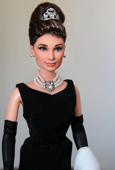 So beautifull! OOAK Mattel BAT Barbie doll repaint as Audrey Hepburn Holly Golightly by Noel Cruz