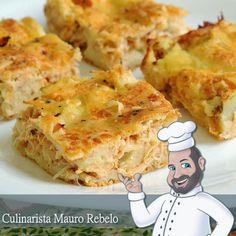 Torta Cremosa de Liquidificador Recheada de Frango com Catupiry    Ingredientes:  Massa:  02 xícaras (chá) leite  01 xícara (chá) óleo  02...