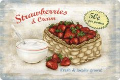 "Tomorrow is National Strawberries and Cream Day ! I knew I had to find a way to add ""chocolate"" cream . Strawberry Delight, Strawberry Patch, Strawberry Fields, Strawberry Hill, Strawberry Kitchen, Vintage Diy, Vintage Labels, Vintage Food, Strauss Innovation"