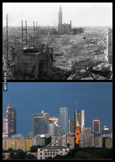 Warsaw 1945 vs 2013 Can you spot the church that survived? Poland Ww2, Warsaw Poland, Warsaw Uprising, Poland History, Poland Travel, The Beautiful Country, Historical Pictures, Krakow, Ukraine