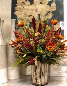 Mixed Centerpiece in Decorative Vase Vintage Fall Decor, Rustic Fall Decor, Fall Flower Arrangements, Artificial Flower Arrangements, Fall Table Centerpieces, Vases Decor, Fall Flowers, Dried Flowers, Flower Decorations