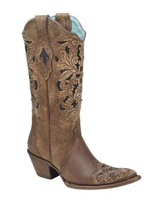 Corral Boots Women's Brown Floral Tool/Black Inlay Boot - C1621