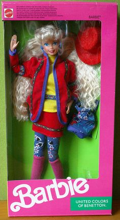 United Colors of Benetton Barbie (1990) Ooo I sure remember this one. She was my favorite Barbie back in the day!