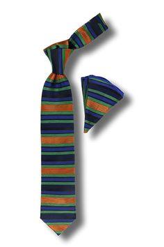 Men's Silk Tie & Hanky Set by Steven Land - Multi Horizonal Stripe Tie Set for Men