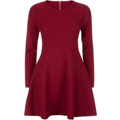 Apricot Burgundy Long Sleeve Knit Dress ($45) ❤ liked on Polyvore featuring dresses, red knit dress, short dresses, long sleeve dress, long sleeve knit dress and short fit and flare dress
