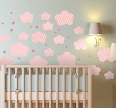 Beautiful sticker of pink clouds for the room of your babe girl! #wallsticker #babe #decoration