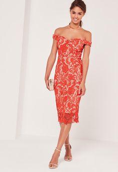 Missguided - Bardot Lace Midi Dress Red