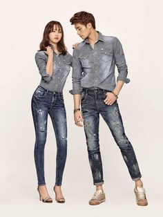 """Sung Hoon and Ryu Hye Young Models for """"Buckaroo's S/S Line Hot Korean Guys, Korean Couple, Asian Actors, Korean Actors, Casual Outfits, Cute Outfits, Fashion Outfits, Sung Hoon My Secret Romance, Stylish Couple"""