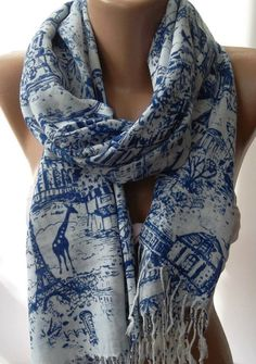 Blue  Shawl / Scarf  / soft cottonunisex by womann on Etsy, $21.90