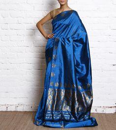 Blue Pat Silk Assam Saree With Zari Work