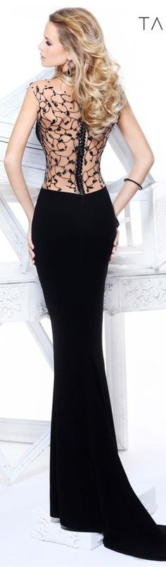 gorgeous Stunning Colorful long black sheer see through embellished low back  flowing fitted gown dress