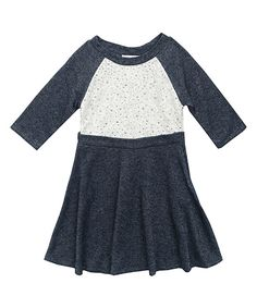 Look what I found on #zulily! Navy & White Lace-Insert A-Line Dress - Girls by Rare Editions #zulilyfinds