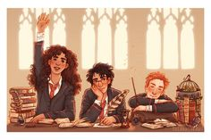 """susannedraws: """" The Golden Trio in transfiguration class *:・゚✧*:・゚✧ * I drew this a couple of weeks ago for Owlcrate, every August box had a print. Thank you again to everyone at Owlcrate, especially Korrina, it was so fun working with you. Harry Potter Tumblr, Harry Potter Hermione, Harry Potter Fan Art, Harry Potter World, Fans D'harry Potter, Ron And Hermione, Harry Potter Drawings, Harry Potter Movies, Hogwarts"""