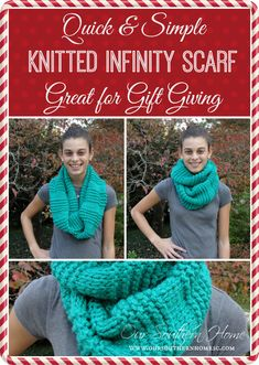 Quick and easy knitted infinity scarf from Our Southern Home #knitting #knittedinfinityscarf #scarfpatterns #freepattern