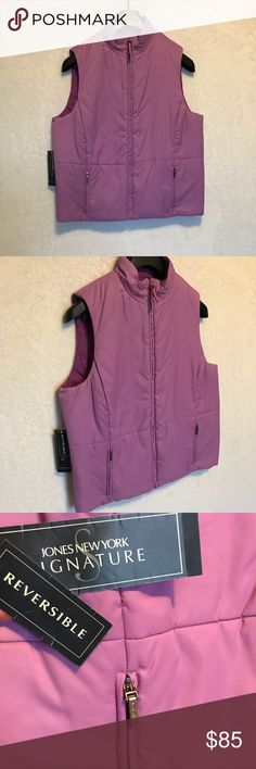 Jones New York Signature Reversible Puffer Vest Jones New York Signature Reversible Light Magenta and Purple Brand New With Tags! Size Large Waffle Knit on one Side / Flat In The Other Nice and Light Jones New York Jackets & Coats Vests