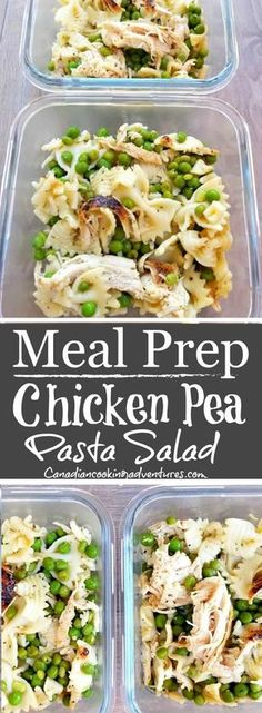 Chicken Pea Pasta Salad is part of Chicken meal prep - This chicken pea pasta salad can be enjoyed warm or cold and served for dinner or lunch With only 3 main ingredients it's easy to make and super healthy Chicken Meal Prep, Chicken Recipes, Chicken Peas Pasta, Salad Chicken, Lemon Chicken, Meal Prep Bowls, Meal Prep Salads, Healthy Meal Prep Lunches, Healthy Food Prep