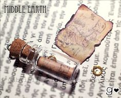 LOTR Bottle Necklace - Map of Middle Earth and The One Ring - Inspired by Lord of the Rings and The Hobbit - Miniature Bottle Vial Jewelry on Wanelo