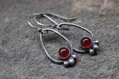Sterling Silver Carnelian Earrings, by StringAndGrass
