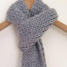 Baby Alpaca Knit Scarf / Gray Alpaca Scarf by danielastange