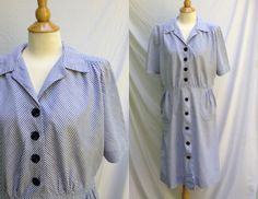 1940s 1950s Plus Size Blue Striped Button Front Day Dress with short sleeves, smocked pockets, Hand Made Vintage by HiddenTreasureHunter on Etsy