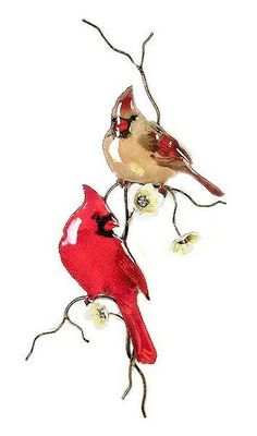 Ship Date: weeks Male and female cardinal with yellow flowering accent in metal wall sculpture The process includes vitreous enamel (which is pulverized glass) applied by hand, using a delicate sp Cardinal Tattoos, Red Bird Tattoos, Tattoo Bird, Metal Wall Sculpture, Wall Sculptures, Watercolor Bird, Watercolor Paintings, Watercolor Christmas, Cardinal Birds