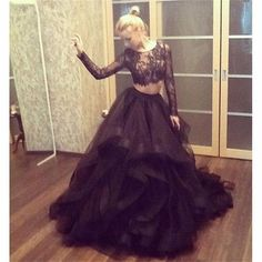 Sexy Ball Gown Two Piece Lace Long Sleeves