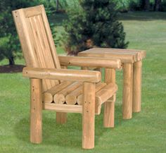 Rustic Chair & Table Wood Project Plans