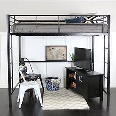 DHP Abode Full Size Metal Loft Bed (Abode Full Size Loft Bed, Silver ...