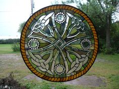 Celtic Cowboy Cross Round Stained Glass   Window