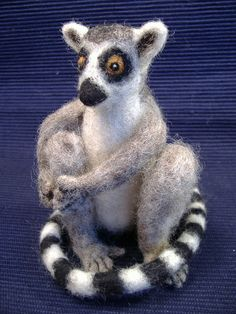 Needle Felted Ringtailed Lemur