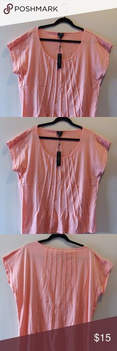 Talbots cap sleeved coral top 3X Very pretty coral cap sleeved top in size 3X NWT.  The stylish pin tucking detail is on both the front and back of the item and provides interest to the garment.  Sorry about the wrinkles from the item being packed up for awhile.  They will easily come out.  All items in my closet are from a smoke free home. Talbots Tops Tees - Short Sleeve