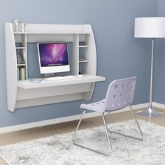 White Floating Desk With Storage. This Office Desk Furniture Is A Space Saving Solution For Any Home. Each Home Office Desk Is Easy To Mount And Features Ample Storage Space. Add This Modern Home Office Furniture To Your Workspace Today. Wall Mounted Desk, Mounted Shelves, Floating Desk, Floating Shelves, Diy Casa, Desk Storage, Shelf Desk, Furniture Storage, Bedroom Storage